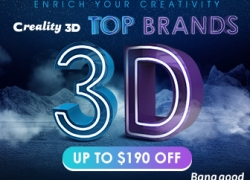 Up to $190 OFF for Top Brand 3D Printer from BANGGOOD TECHNOLOGY CO., LIMITED