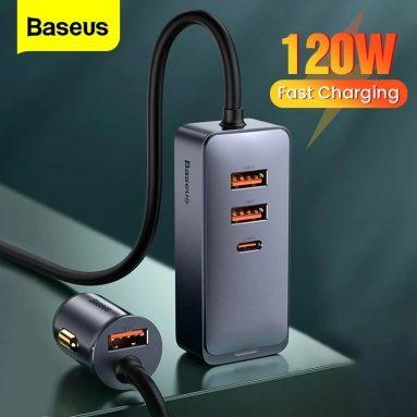 15 € z kuponem na 120-portową ładowarkę samochodową Baseus 4W PPS PD QC3.0 FCP AFC Szybkie ładowanie Kabel o długości 1.5 m od BANGGOOD
