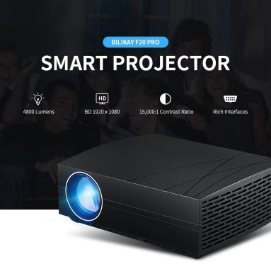 €150 with coupon for Bilikay F20 Pro 4800 Lumens BD 1920 Smart Projector – Black Basic EU PLUG from GEARBEST