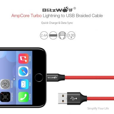 €5 with coupon for BlitzWolf® AmpCore Turbo BW-MF9 2.4A Braided Lightning Charging Data Cable from BANGGOOD