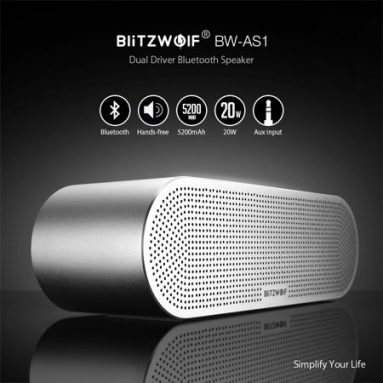 €38 with coupon for BlitzWolf® BW-AS1 Wireless Bluetooth Speaker 20W Double Driver 5200mAh Hands-free Aux-in Speaker from BANGGOOD
