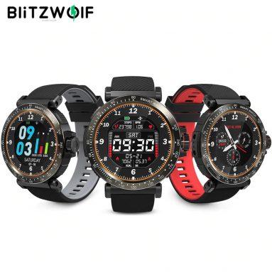 € 19 з купоном на повний екран BlitzWolf® BW-AT1 на весь екран із сенсорним динамічним інтерфейсом інтерфейсу, показник серцевого ритму АТ, кисневий монітор, погода, нажимає смарт-годинник від BANGGOOD