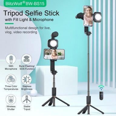 34 € s kupónem na bluetooth stativ BlitzWolf® BW-BS15 bluetooth Selfie Stick s výplňovým světlem s kondenzátorovým mikrofonem Bezdrátová selfie tyč Selfie světla pro živý záznam videa Vlog ze skladu EU PL BANGGOOD