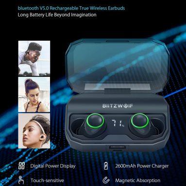 23ユーロ、BlitzWolf®BW-FYE3S True Wireless bluetooth 5.0イヤホンデジタルパワーディスプレイ用クーポン付き2600mAh充電ボックス付きスマートタッチ双方向通話ヘッドフォンBANGGOODのEU UK倉庫