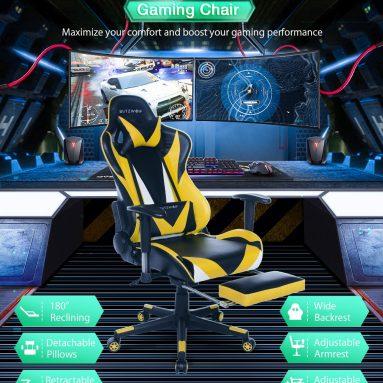 91 євро з купоном на BlitzWolf® BW-GC2 Оновлена версія Ігровий стілець Ергономічний дизайн 180 ° лежачий Регульований підлокітник Підставка для ніг Широка спинка Домашній офіс EU PL CZ Склад від BANGGOOD