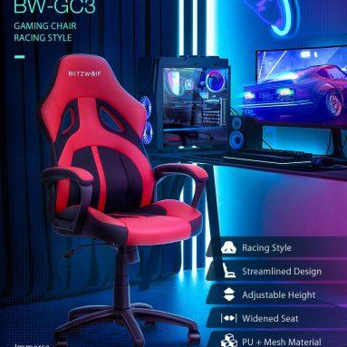 € 63 com cupom para BlitzWolf® BW-GC3 Racing Style Gaming Chair PU + Mesh Material Design aerodinâmico Assento ajustável Altura ajustável Escritório em casa - Vermelho da UE CZ warehouse BANGGOOD