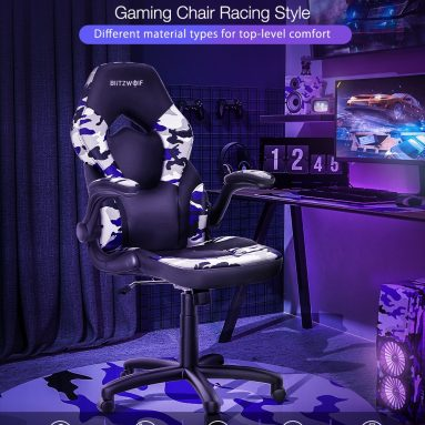 €61 with coupon for BlitzWolf® BW-GC4 Gaming Chair Racing Style with Camouflage/PU/Mesh Material Reversible Armrest Widened Seat and High Back Design for Home Office – #2 from EU CZ warehouse BANGGOOD