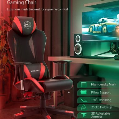 €98 with coupon for BlitzWolf® BW-GC6 Gaming Chair with High-density Mesh 150°Reclining 2D Adjustable Armrest Pillow Support Widened Cushion & Back Home Office – Red from EU CZ warehouse BANGGOOD