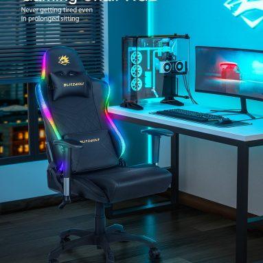 157 євро з купоном на ігровий стілець BlitzWolf® BW-GC8 із 7 ефектами RGB Lights Effects 160 ° Макс. Відкидний 2D регульований підлокітник для домашнього офісу зі складу EU CZ BANGGOOD