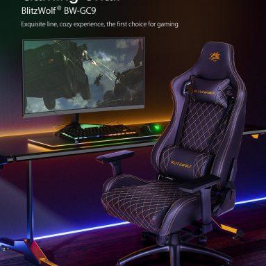 169 € z kuponem na krzesło do gier BlitzWolf® BW-GC9 Znakomita konstrukcja liniowa 135 ° Max rozkładany podłokietnik 3D z zaawansowaną machanizmem Funkcja blokady pochylenia dla biura domowego z magazynu CZ UE BANGGOOD