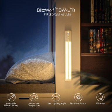 € 10 met coupon voor [Upgrade-versie] BlitzWolf® BW-LT8 PIR Licht-bewegingssensor LED-kast Licht Verwijderbare lithiumbatterij 3000K Kleurtemperatuur voor badkamer Slaapkamer Opbergruimte Steektrappen Stap Lichtbalk van BANGGOOD