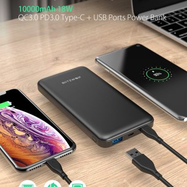 €13 with coupon for BlitzWolf® BW-P9 10000mAh 18W QC3.0 PD3.0 Type-c + USB Ports Power Bank with Fast Charging Dual Input and Output (+ GIFT) from BANGGOOD
