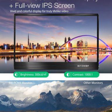 BlitzWolf® BW-PCM229 쿠폰 포함 € 4 BANGGOOD 스마트 폰 태블릿 노트북 게임 콘솔 용 15.6 인치 UHD 4K 타입 C 휴대용 컴퓨터 모니터 게임 디스플레이 화면