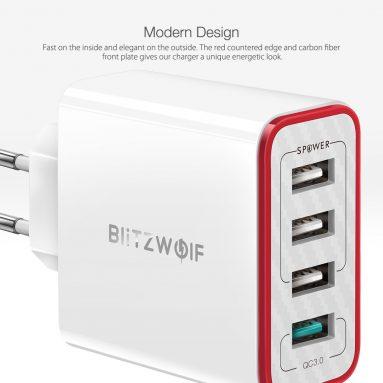 BlitzWolf®BW-PL11WQC5急速充電30A3.0ポートUSB充電器EUプラグアダプター(HUAWEI P2.4 Mate4 Pro Xiaomi MI20 S20用電源付き)のクーポン付き€9(CN / EU CZ倉庫から)BANGGOOD