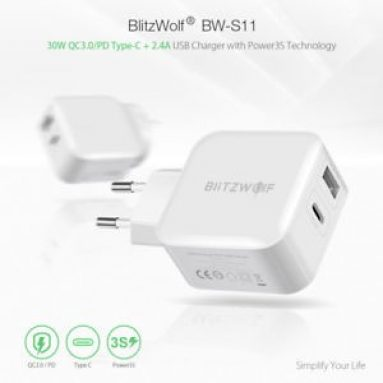 €8 with coupon for BlitzWolf® BW-S11 30W Type-C PD/QC3.0+2.4A Dual USB Fast Charger EU Adapter for iPhone X 8 Plus iPad from BANGGOOD
