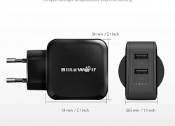 €6 with coupon for BlitzWolf® BW-S2 4.8A 24W Dual EU USB Charger With Power3S Tech for iphone 8 8 Plus Xiaomi from BANGGOOD