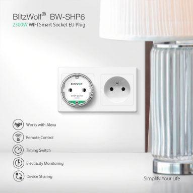 € 7 con coupon per BlitzWolf® BW-SHP6 10A EU Plug Metering Versione WIFI Smart Socket 220V-240V Lavora con Amazon Alexa Google Assistant da BANGGOOD