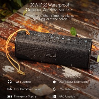 €42 with coupon for BlitzWolf® BW-WA2 20W Wireless bluetooth Speaker Dual Passive Diaphragm TWS NFC Bass Stereo Outdoors Soundbar with Mic EU UK WAREHOUSE from BANGGOOD