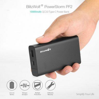 € 16 avec coupon pour BlitzWolf PowerStorm BW-PF2 10000mAh 18W QC3.0 Banque de puissance de type C avec entrée et sortie à chargement rapide de BANGGOOD