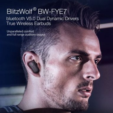 €26 with coupon for Blitzwolf® BW-FYE7 TWS bluetooth 5.0 Earphone Heavy Bass Stereo Bilateral Calls Headphone with Charging Box from BANGGOOD