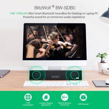 17 يورو مع كوبون لـ Blitzwolf® BW-SDB0 10W 1200mAH Mini Smart Bluetooth Soundbar لسطح المكتب أو الكمبيوتر المحمول من EU CZ Warehouse BANGGOOD