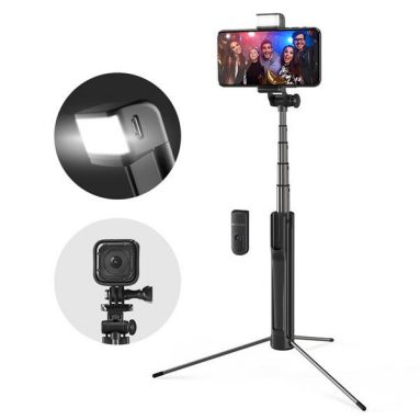 €11 with coupon for Blitzwolf BW-BS8 Extendable bluetooth Tripod Selfie Stick With LED Fill Light For Phone Sport Camera – Black from BANGGOOD
