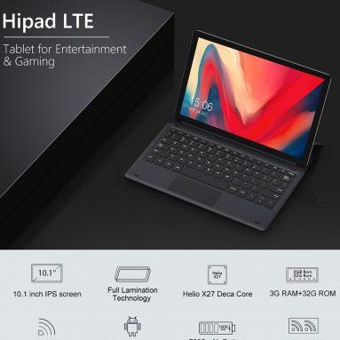 € 143 với phiếu giảm giá cho CHUWI HiPad LTE 32GB MT6797X Helio X27 Deca Core 10.1 Inch Máy tính bảng Android 8.0 Dual 4G có bàn phím từ BANGGOOD