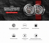 €95 with coupon for CIGA Design T Series Fully Transparent Watch Case SEAGULLS Movement Mechanical Watch from Xiaomi Eco-System – Red from BANGGOOD