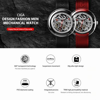 € 95 s kupónem pro série CIGA Design T Plně průhledné pouzdro na hodinky SEAGULLS Movement Mechanical Watch from Xiaomi Eco-System - Red from BANGGOOD