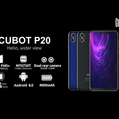 €105 with coupon for CUBOT P20 4G Phablet – BLACK from GearBest