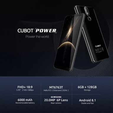 €161 with coupon for CUBOT POWER 4G 6GB RAM 128GB ROM Fingerprint Sensor Helio P23 6000mAh 6P Lens Phablet – EARTH BLUE EU warehouse from GearBest