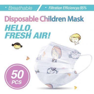 € 26 na may kupon para sa 50pcs Mga bata Mask Virus Protection Elastic Earloop Dustproof Anti Flu para sa mga Bata mula sa GearBest