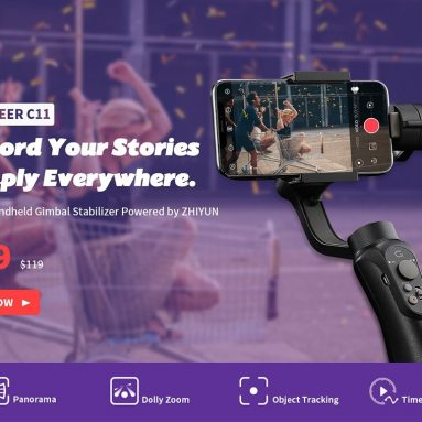 $52 with coupon for Cinepeer C11 3-axis Smartphone Handheld Gimbal Stabilizer Powered by ZHIYUN Dolly Zoom Panorama from EU UK Warehouse GEARBEST