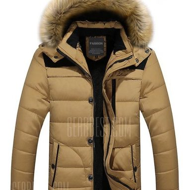 $34 with coupon for Classic Padded Winter Jacket with Hood  –  L  KHAKI from GearBest
