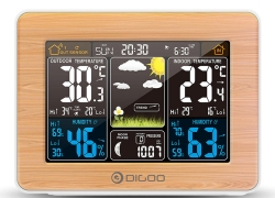 €15 with coupon for DIGOO DG-EX002 Wood Grain Color Screen Weather Station HD Color Screen Outdoor Indoor Thermometer Hygrometer Temperature Humidity Weather Forecast Moon Phase Daily Alarm Clock with Snooze Function – Wood grain from BANGGOOD
