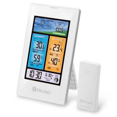 € 9 DIGOO DG-EX003 के लिए कूपन के साथ ऊर्ध्वाधर रंग स्क्रीन मौसम स्टेशन तापमान आर्द्रता आउटडोर सेंसर थर्मामीटर आर्द्रतामापी - BANGGOOD से सफेद