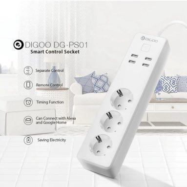 € 18 DIGOO DG-PS01 AB kuponlu AB Tak Akıllı Güç Şeridi Alexa Akıllı Ev USB Bağlantı Noktası Uzaktan Kumandası ile Çalışın Çoklu Soket - BANGGOOD'dan AB fişi