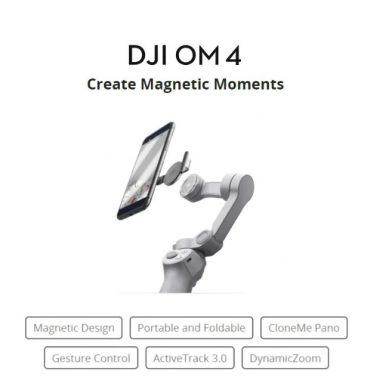 €128 DJI OM 4 OSMOモバイル4ジンバルの折りたたみ式ハンドヘルドマグネティックスマートフォンスタビライザーのクーポン付き(BIGGOODのYouTube Tiktok Vlogビデオ録画用)