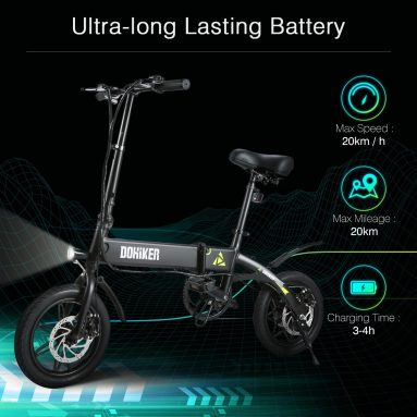 € 388 com cupom para DOHIKER Dobrável E-bike Dobrável Ciclomotor Elétrico Com 250W Motor 7.5Ah Bateria Recarregável - Black EU Warehouse da GEARBEST