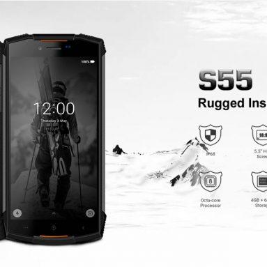 122 € med kupong för DOOGEE S55 5.5 tums IP68 Vattentät Android 8.0 4 GB RAM 64 GB ROM MTK6750T Octa Core 5500mAh 4G Smartphone från BANGGOOD