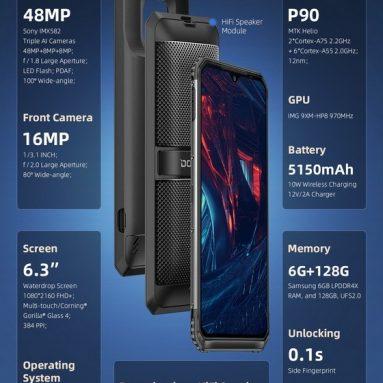 211 € avec coupon pour DOOGEE S95 Global Bands IP68 étanche 6.3 pouces FHD + NFC 5150mAh Android 9.0 Caméras arrière Triple AI 48MP 6 Go de RAM 128 Go ROM Helio P90 Octa Core 4G Smartphone - Black EU Version de BANGGOOD