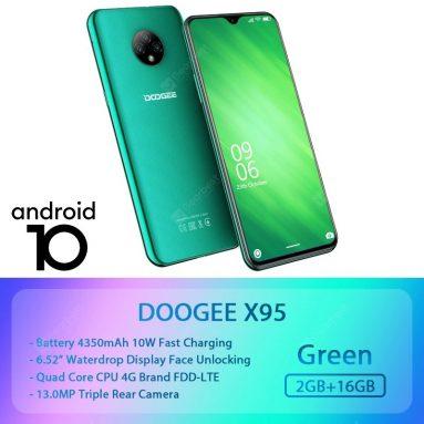 54 € cu cupon pentru DOOGEE X95 Global Version 6.52 inch Android 10 4350mAh Face Deblocare Cameră triplă spate 13MP 2 GB Smartphone 16GB 6737GB MT4V XNUMXG - Versiunea neagră a UE de la BANGGOOD