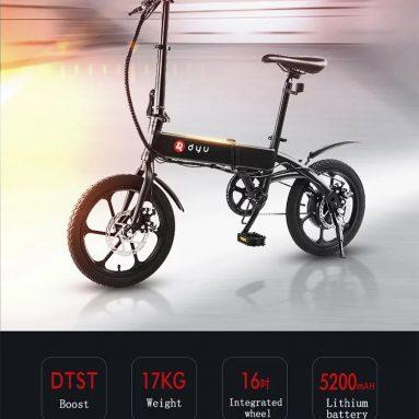492 евро с купоном на складной электрический велосипед DYU A1F 16 дюймов со склада EU GER TOMTOP