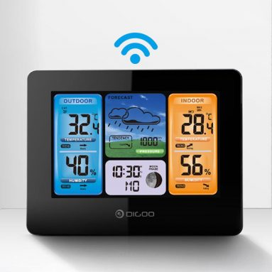 €17 with coupon for Digoo DG-EX001 WIFI APP Smart Weather Station Wireless Color Screen Temperature Humidity Outdoor Sensor Thermometer Hygrometer Weather Forecast Moon Phase from BANGGOOD