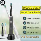 € 11 avec coupon pour Digoo DG-YS33 3 Modes de brosse Essence Sonic Electric Brosse à dents rechargeable USB sans fil IPX7 Waterproof avec tête de brosse à dents 2 - Noir de BANGGOOD