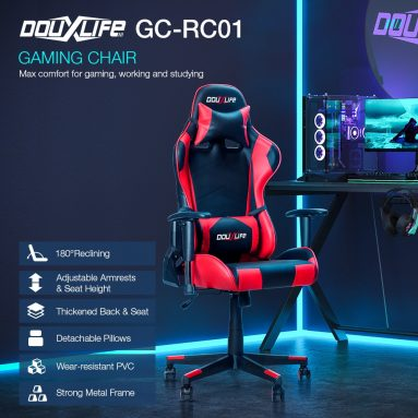 €89 with coupon for Douxlife® Racing GC-RC01 Gaming Chair Ergonomic Design 180°Reclining with Thick Padded High Back Added Seat Cushion 2D Ajustable Armrest for Home Office from EU PL warehouse BANGGOOD