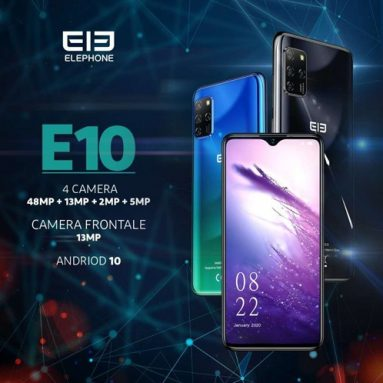 € 106 مع قسيمة لـ ELEPHONE E10 Global Version 6.5 inch NFC Android 10 4000mAh 48MP Quad Rear Cameras 4GB 64GB MT6762D 4G Smartphone - Blue from BANGGOOD
