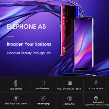 $189 with coupon for Elephone A5 Global Version 6.18 Inch FHD+ 4000mAh Triple Rear Camera 6GB 128GB Helio P60 Smartphone from BANGGOOD