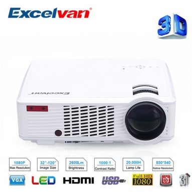 $108 with coupon for Excelvan 2600 Lumens LED HD Projector 33-02 Cinema Theater PC&Laptop AV/VGA/HDMI/USB input – WHITE AU PLUG from GearBest