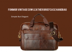 $34 with coupon for FONMOR Vintage men's Cow Leather Briefcase Laptop Briefcase – Deep Coffee from GearBest